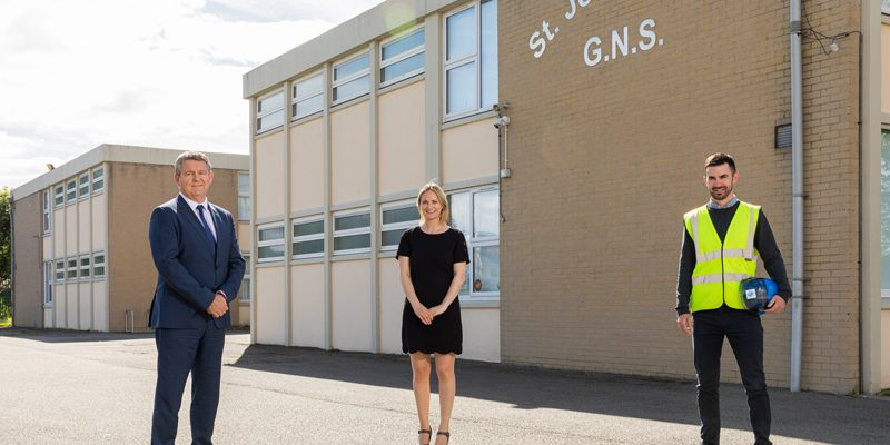 Pictured at St John of God Primary School, Artane, ahead of the re-opening for the new school year was from left: Declan Carlyle, CEO of Bartra Healthcare, Aoife McNicholas, Principal of St John of God primary school, Artane, and James Boyle, Civil Engineer, DHD Construction.